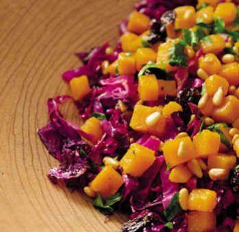 Salade tiède chou rouge, patates douces
