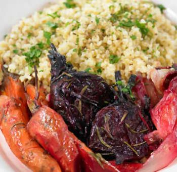 Boulgour et légumes rôtis