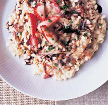 Chicorée grillée, risotto aux fraises