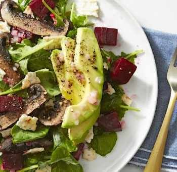 Salade de champignons betteraves avocat
