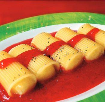 Rigatonis au lemon-curd,sauce aux fraises