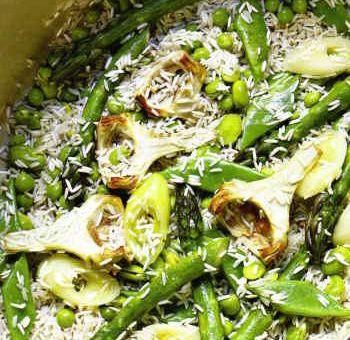 Riz aux légumes de printemps