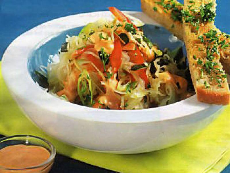 Salade de choucroute, sauce au yaourt