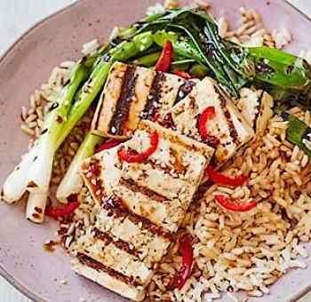Tofu teriyaki oignons au four