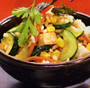 Salade de blé et tofu à l'algue nori