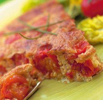Clafoutis tofu, tomates, chèvre