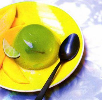 Gelée au citron vert, basilic et mangue