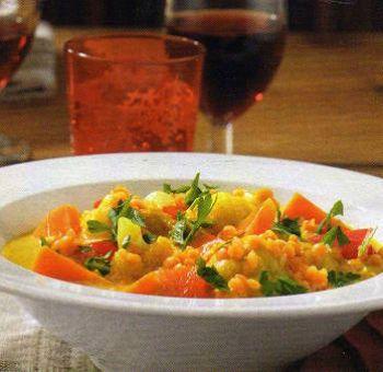 Lentilles corail au curry et petits légumes