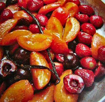 Fruits d'été poêlés au thym et vanille