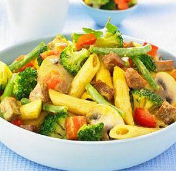 Seitan et pâtes au curry