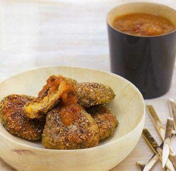 Tempeh pané aux herbes, sauce orange-gingembre