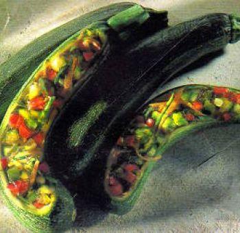 Courgettes farcies en gelée d'agar agar