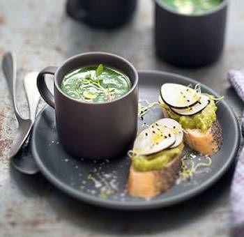 Potage cresson, raids noir guacamole