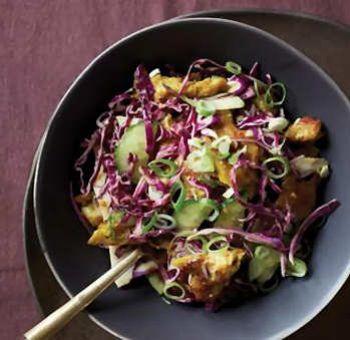 Salade seitan chou-rouge
