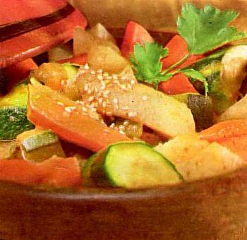 Tajine végétarien au miel d'oranger