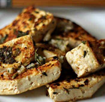 Tofu croustillant ail et menthe